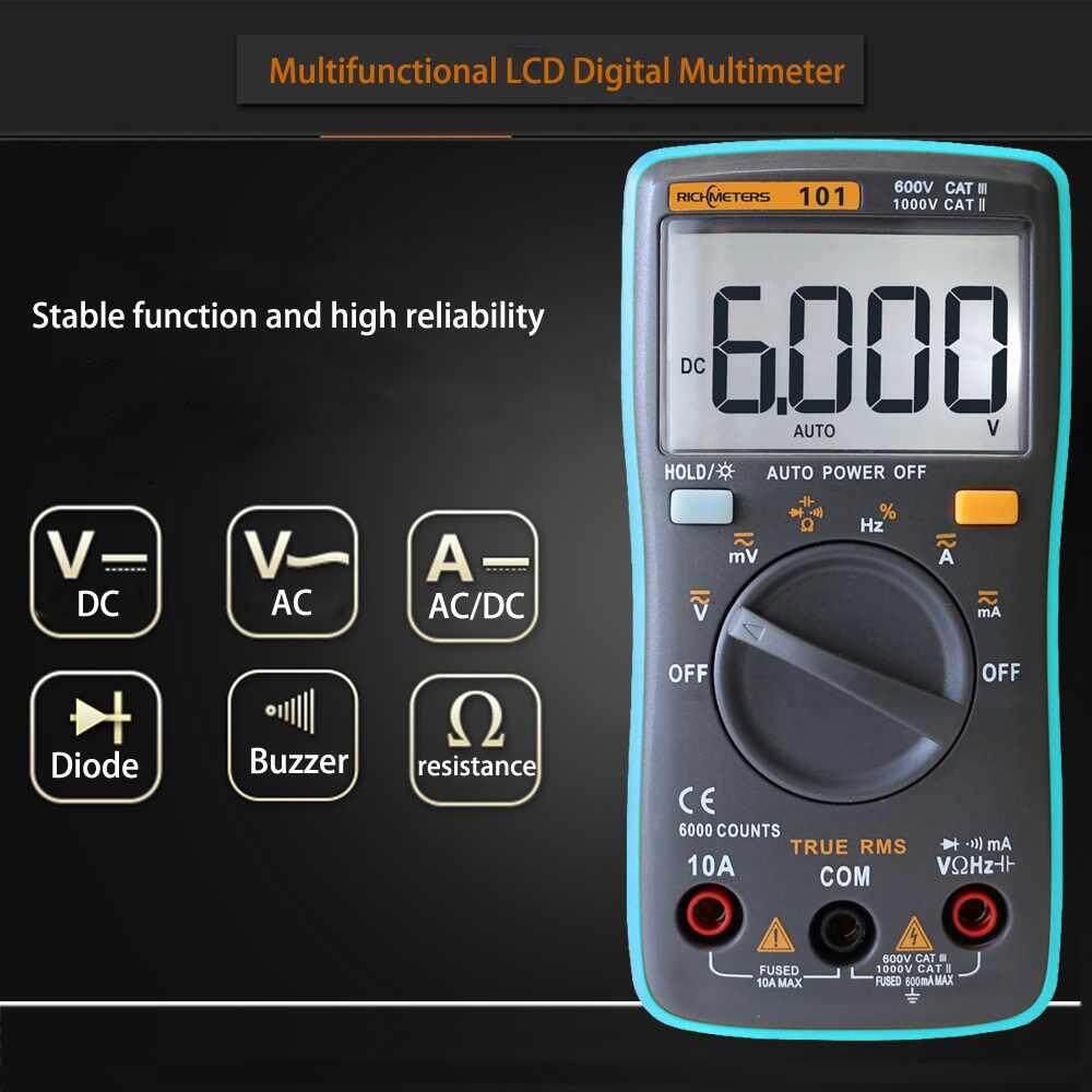 RM101 DC OHM Handheld LCD Digital Multimeter Voltmeter Ohmmeter Multitester - intlIDR238089