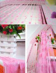 Romantic Heart-Shaped Line Curtain Door Window Curtain Home Decorations Wedding Backdrops Derections Pink