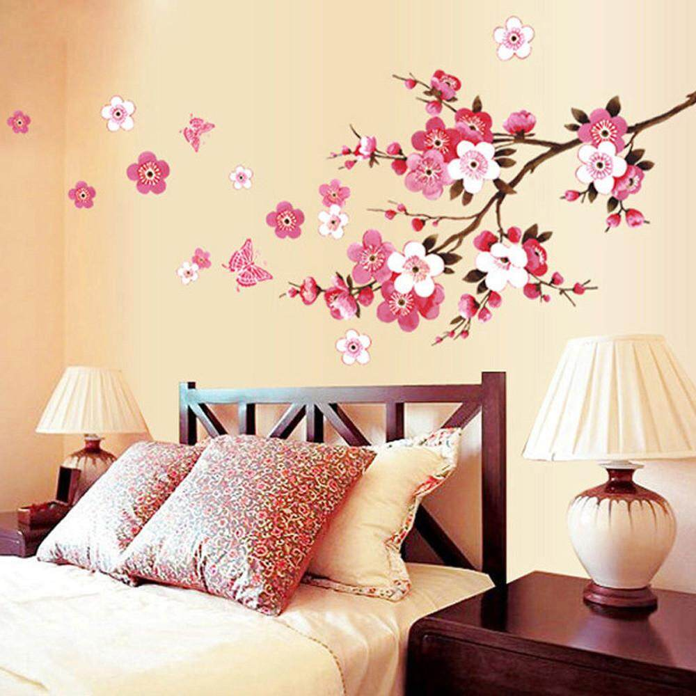Room Peach Blossom Flower Butterfly Wall Stickers Vinyl Art Decals Decor  Mural   Intl