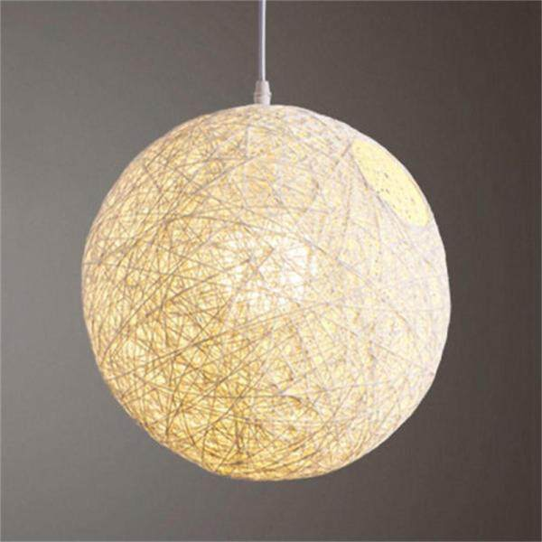 Qimiao Round Concise Hand-woven Rattan Vine Ball Pendant Lampshade Light Lamp Shades Light Accessories(15cm Diameter)  Lucky-G