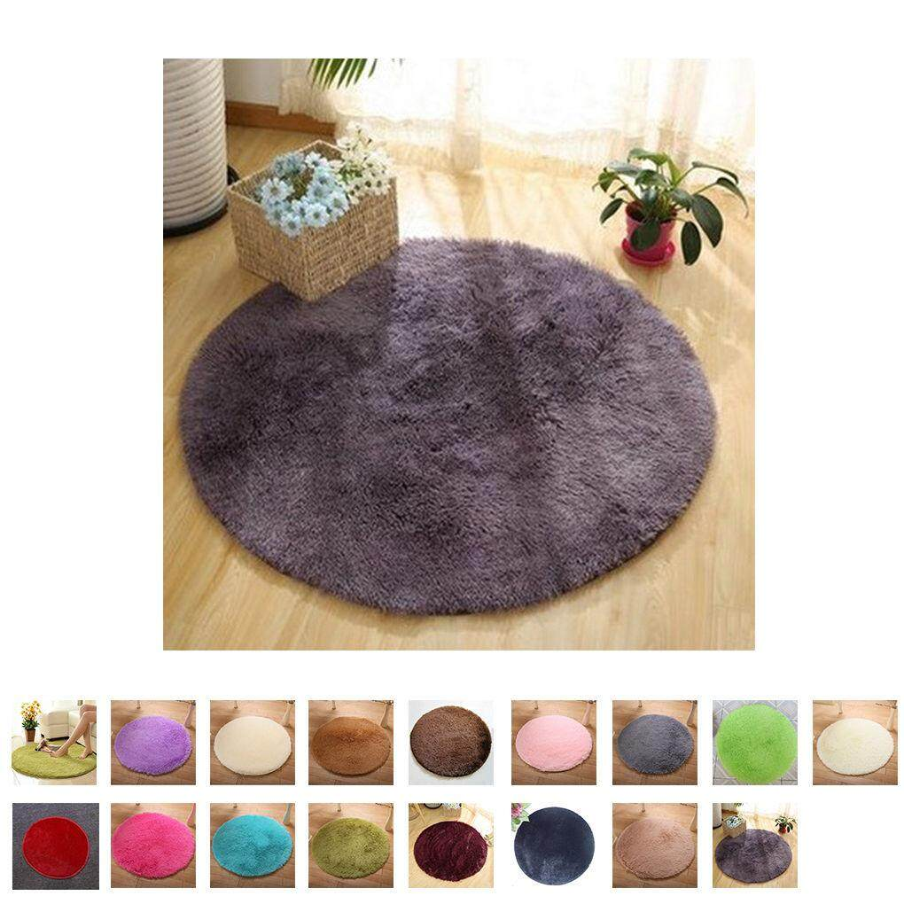 Round Fluffy Rugs Anti-Skid Shaggy Area Rug Room Home Bedroom Carpet Floor Mat - intl
