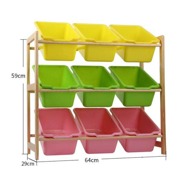 RuYiYu - 64 X 59 X 29cm, Kids Toy Organizer and Storage Bins, 9-Bins in Fun Colors, Toy Storage Rack, Natural/Primary