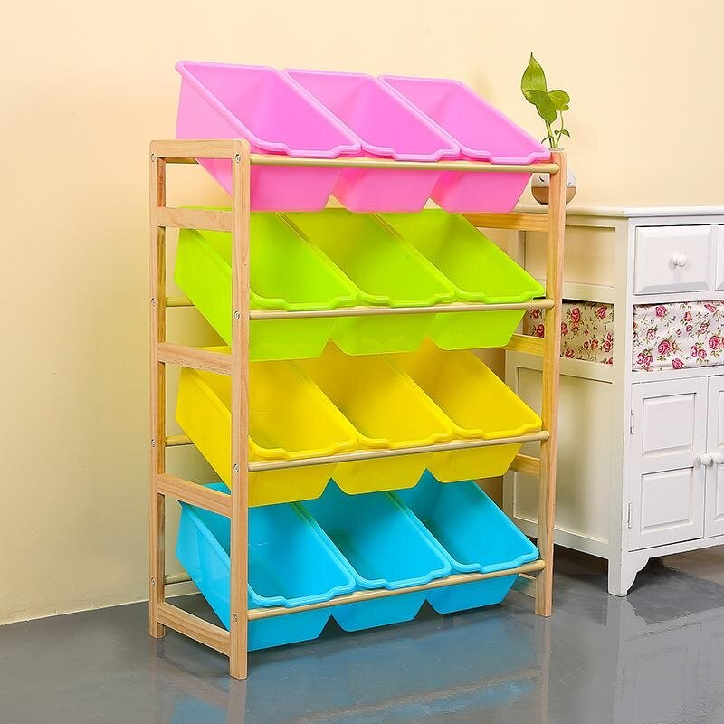 64x 28 X 80cm, Kids Toy Organizer And Storage Bins, 12-Bins In Fun Colors, Toy Storage Rack, Natural/primary By Ruyiyu902 Furniture.