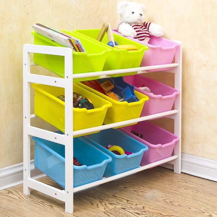 64x 28 X 80cm, Kids Toy Organizer And Storage Bins, 9-Bins In Fun Colors, Toy Storage Rack, Natural/primary By Ruyiyu902 Furniture.