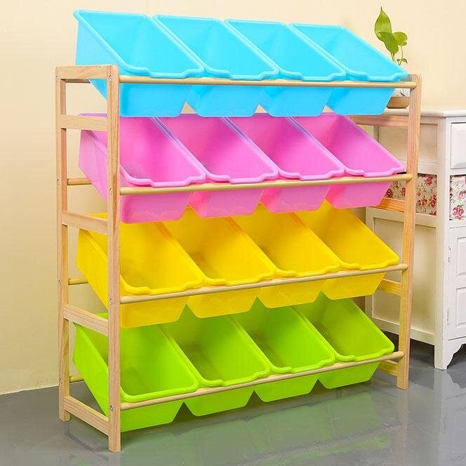 84x 28 X 80cm, Kids Toy Organizer And Storage Bins, 16-Bins In Fun Colors, Toy Storage Rack, Natural/primary By Ruyiyu902 Furniture.