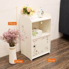 RuYiYu - Small Plastic-Wood White Bed End Table Nightstand Bathroom Cabinet Kids Furniture Bookcase Table, Creative Water-proof Living Room Multifunctional Assemble Cabinet