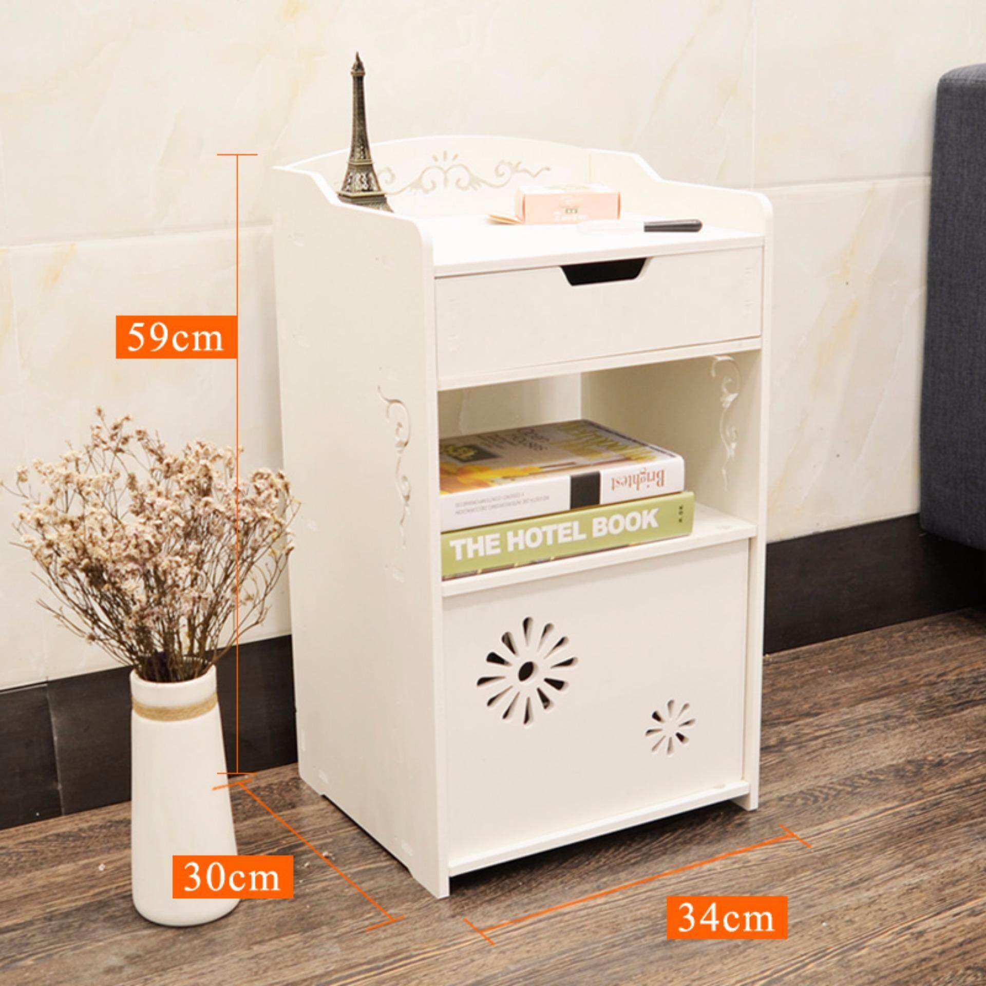 View Product Ruyiyu  Small Plastic Wood White Bed End Table