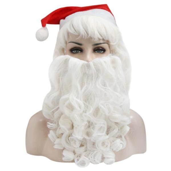 Veecome Santa Claus Wig + Beard Set Christmas Decorative Costume Accessory Adult Cosplay Fancy Dress Size:Beard + wig set Home Lighting