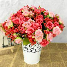 Sanwood® Fake Rose Flowers Artificial Floral Plant Wedding Party Decor 21 Heads on 1 Bouquet