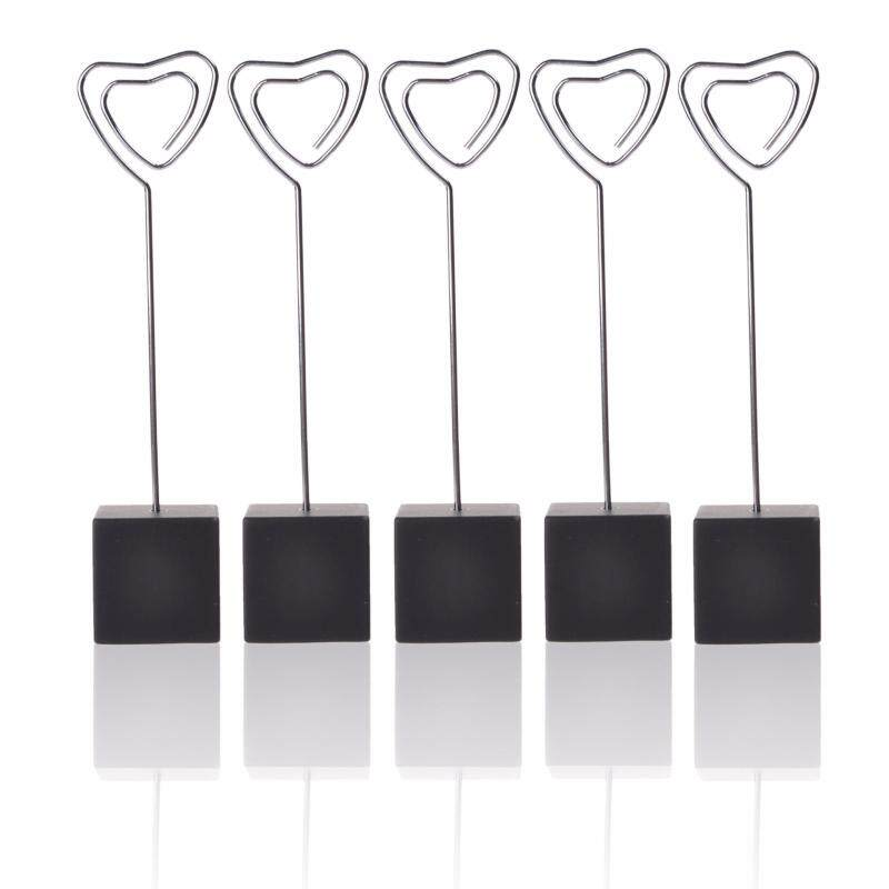 SDD 5 Pcs Cube Base Memo Clips Holder with Heart-shaped Clip Clasp for Displaying Photos Number Cards(Black)