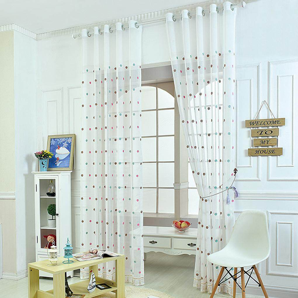 Semi-shade Polyester Elegant Embroidery Dots Sheer Window Curtains Drape - intl