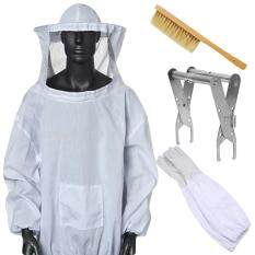 Set 5 PCS Beekeeping Tools White Protective Suit Jacket Smock Gloves Bee Brush Hive Frame Holder Beekeeping Equipment Supplies