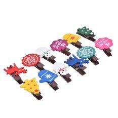 Set Of 12 Christmas Snowman Wooden Pegs Paper Po Clip With Linen String, By Fashionday.