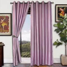 2 Pieces Essina Eyelet Curtain Essential Blackout 140cm X 260cm Kalina Lavender Fit