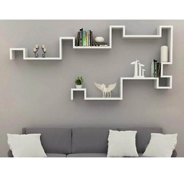 Set Of 2 S Shape Wall Mounted Shelves White Malaysia