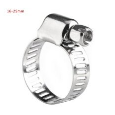 Qianmei Set of Screw Band Worm Hose Clamps Stainless Steel Water Pipe Clip (16mm-25mm)