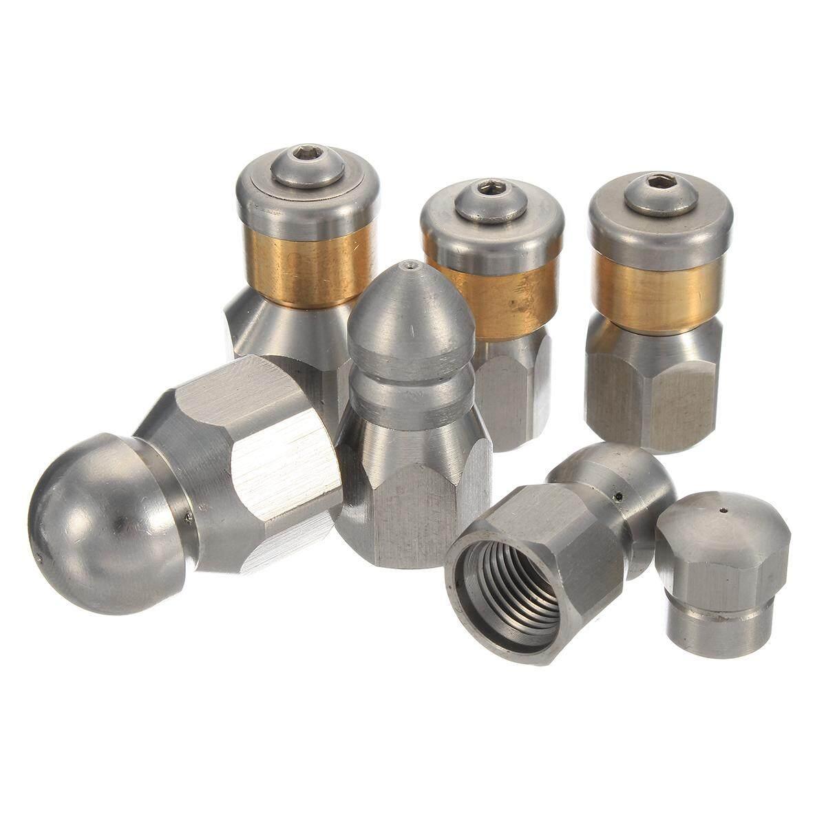 Sewer Jetter Nozzle, Button Nose, Pressure Drain Hose Nozzle, Jetter Hose Nozzle 1/8 1 front 3 back - intl