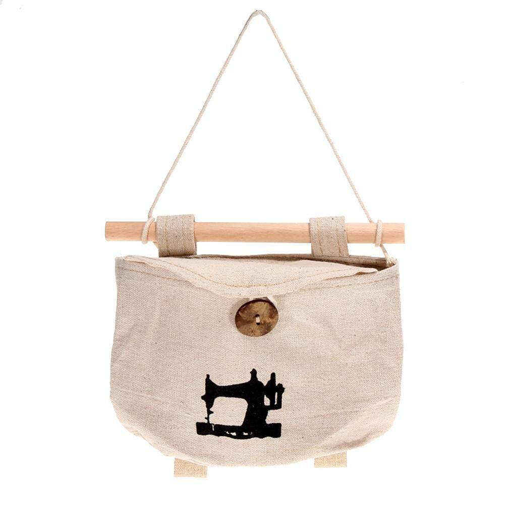 Newlifestyle Sewing Wall Sundry Fabric Cotton Pocket Hanging Holder Storage Bags Rack - intl(Black)