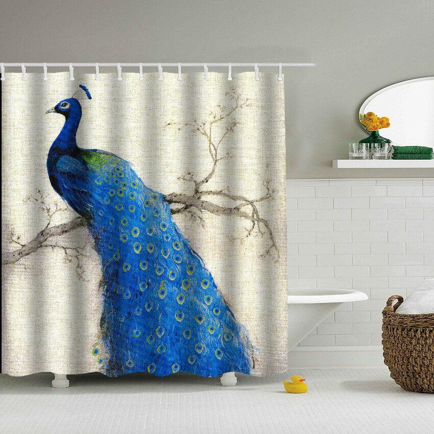 VR_Tech Peacock Waterproof Fabric Shower Curtain Set With Hooks Forbathroom 180X180 Cm - intl