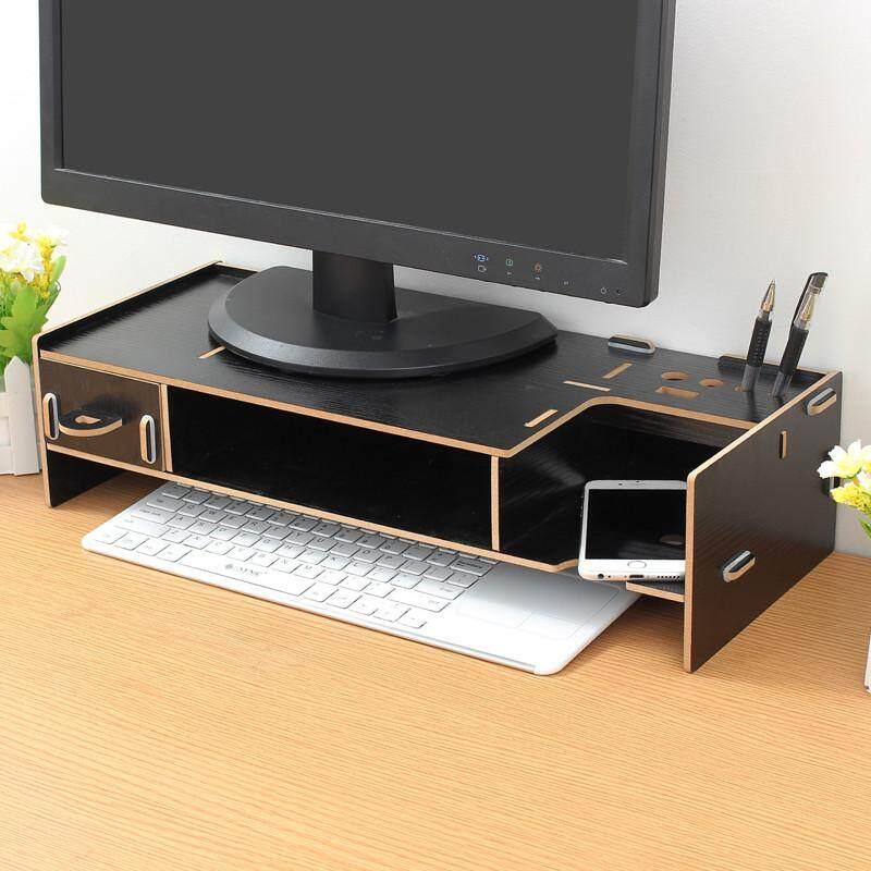 Shelf Plinth Wooden Desktop Monitor Stand LCD TV Laptop Computer Screen Riser - intl