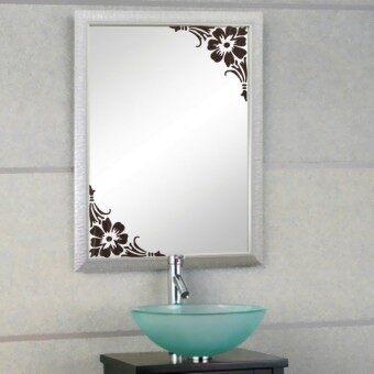 Harga preferensial Showcase Glass Window Bathroom Mirror Wall 2 Corner Sticker Homedecal (Brown) beli sekarang - Hanya Rp340.505