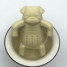 Silicone Tea Coffee Infuser Leaf Animal Pug Teapot Filter Beige Novelty Gift