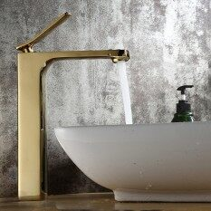 Single Handle Bathroom Sink Faucet Copper Basin Mixer Taps Plated Lavatory Faucets Golden
