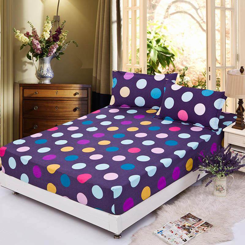 Single/Full/Queen Size High Quality Cotton Fitted Bed Sheets Wave Point Multi Color