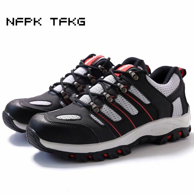 (Ukuran: 46) Unisex Penutup Jari Kaki Baja Sepatu Kerja Aman Hiking Outdoor Sepatu Kulit Sol Karet Sepatu Anti Selip-Intl