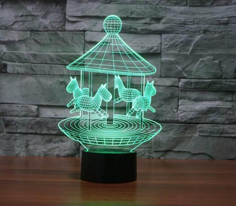 SLM 3D Creative Horse LED Light Table lamp Rainbow color touch bedside Lamps atmosphere colorful desk