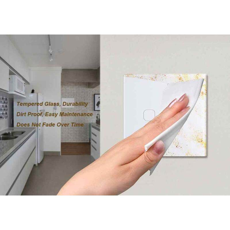 Smart Touch Switch 2 Gang 1 Way Controller EU Crystal Tempered Glass Panel