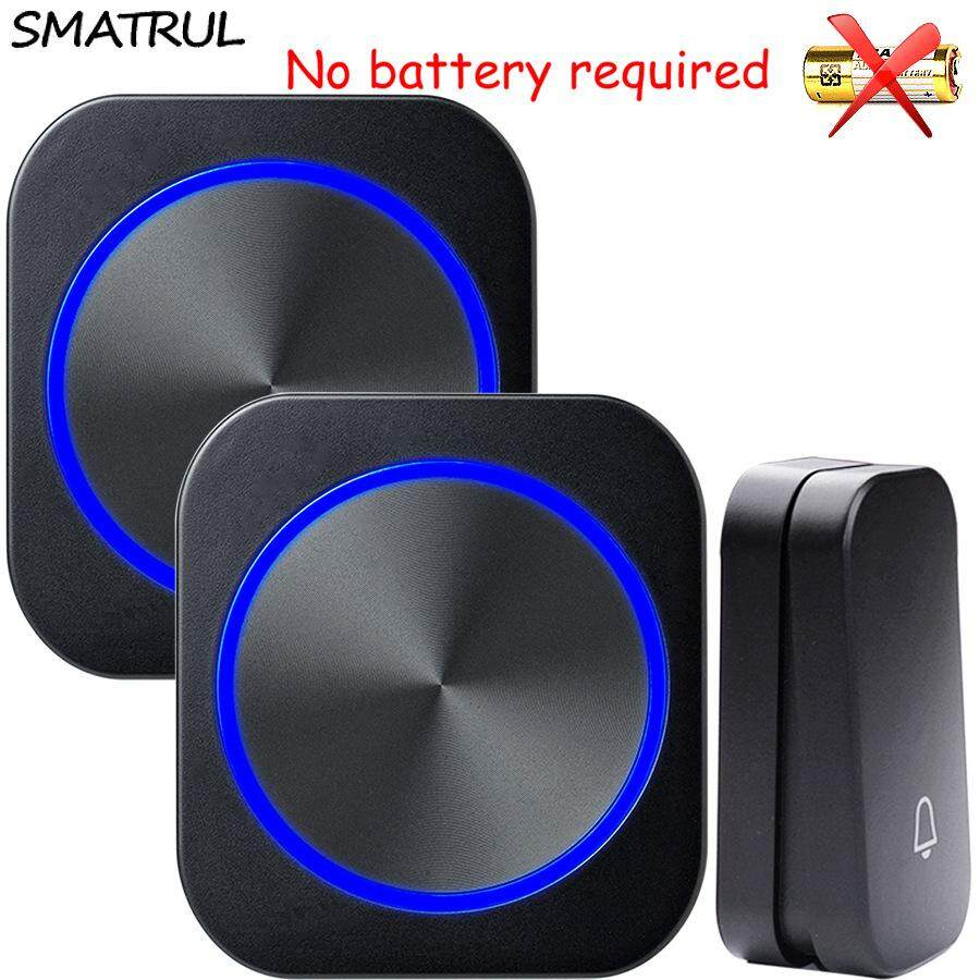 Top Rated Smatrul Waterproof Self Powered Wireless Doorbell No Battery 150M Remote Eu Plug Home Door Bell Chime Ring 1 Button 2 Receiver For Home And Office Intl