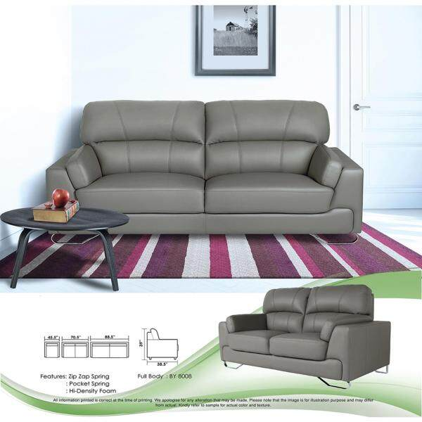 Sofa Set 1+2+3 Fully Leather Sofa Lounge Chair Relax Sofa (Grey Color) With 10 Years Warranty Pre Order 2 Week