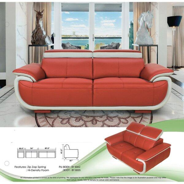Sofa Set 1+2+3 Fully Leather Sofa Lounge Chair Relax Sofa (Red Color) With 10 Years Warranty Pre Order 2 Week