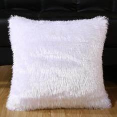 Soft Plush Square Pillow Case Car Sofa Waist Throw Cushion Cover Home Decoration Color:pure White Size:45*45cm By Hossen.