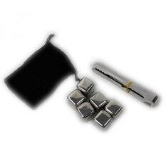Soga Whiskey Stones Set Of 6 Stainless Steel Ice Cubes - Include An Thongs, &Amp; Bags. Reusable Cooling Ice Cubes
