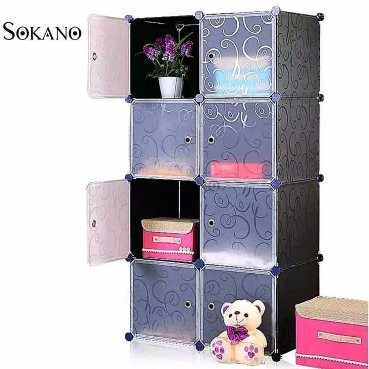 sokano diy magic 8 cube storage cabinet black lazada. Black Bedroom Furniture Sets. Home Design Ideas