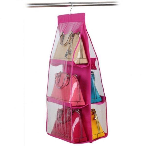 SOKANO Dust Proof Handbag Rack Organizer- Pink