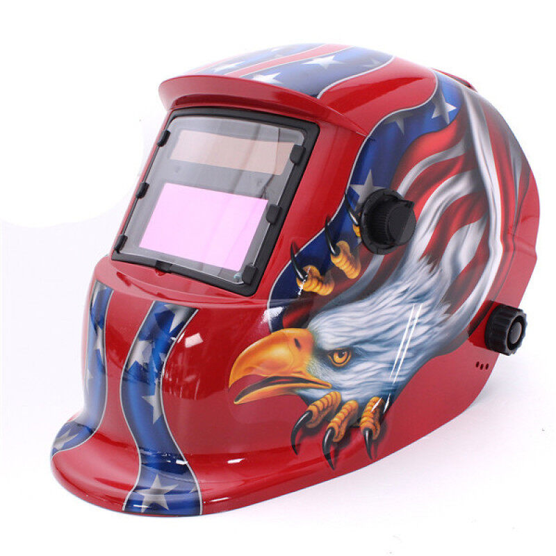 Solar Auto Darkening Welding Helmet Arc Tig Mig Grinding Mask for Welders (Red)