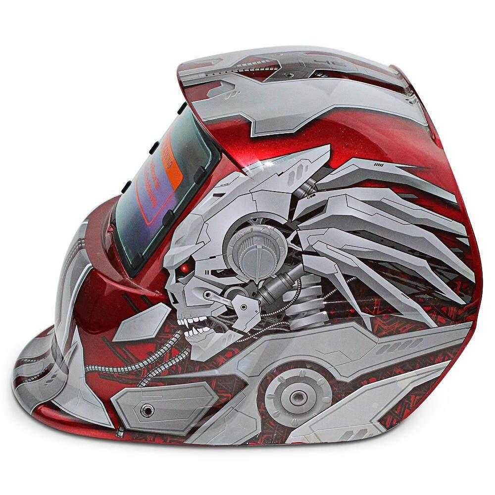 Tenaga Surya Energi Otomatis Berubah Cahaya Listrik Pengelasan Helm Pelindung dengan Karakter Pahlawan Pola-Internasional