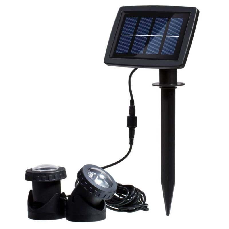Solar Powered Super Bright 2 Underwater Lamps 12 LEDs Light Sensor Projector Light Garden Pool Pond Yard Submersible Spotlight Outdoor Landscape Lighting Use Warm White - intl