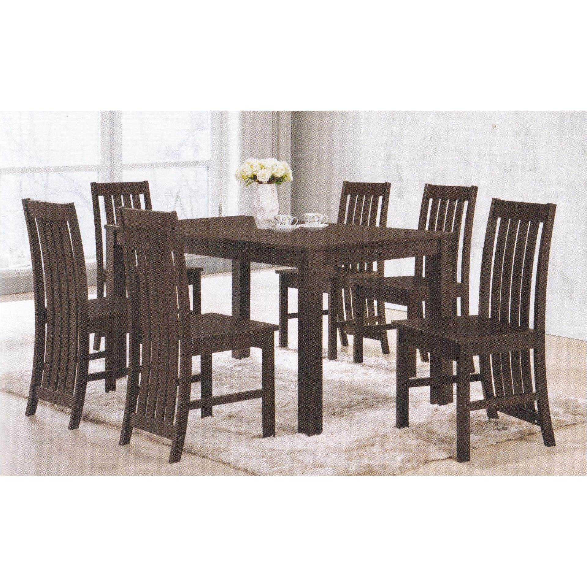 Solid Wood 1+6 Dining Table Chair Set (Walnut)