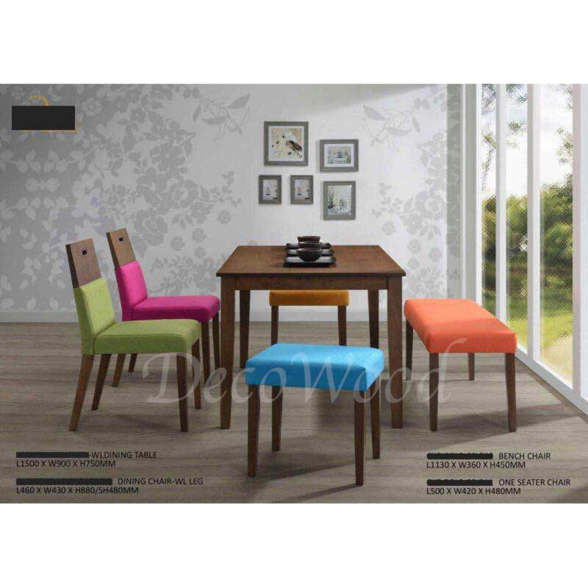 Solid Wood 1 Dining Table + 3 Cushion Stool Dining Set Breakfast Lunch Dinner Set(Mixed Color) L1500MM X W900MM X H750MM Pre Order 2 Week