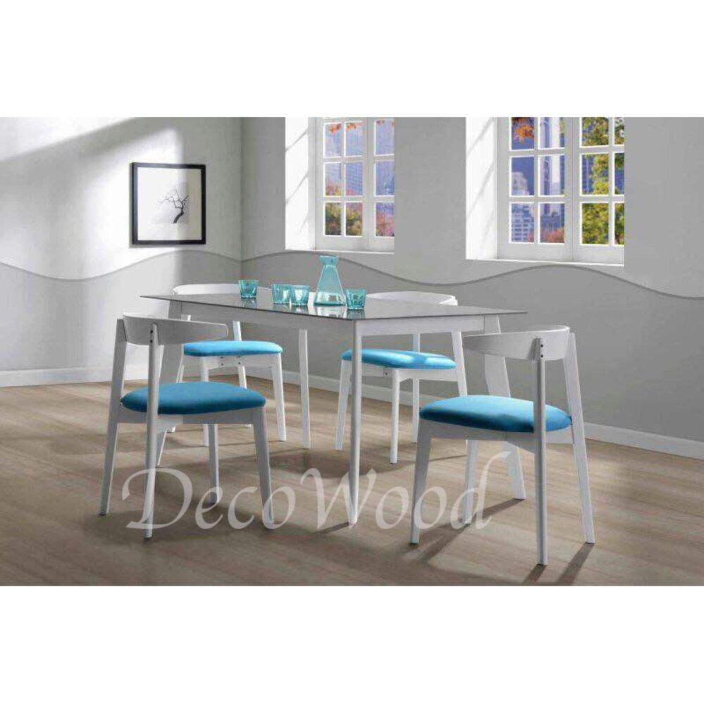 Solid Wood 1 Dining Table + 4 Cushion Chair Dining Set Breakfast Lunch Dinner Set(White Color) L1500MM X W900MM X H750MM Pre Order 2 Week