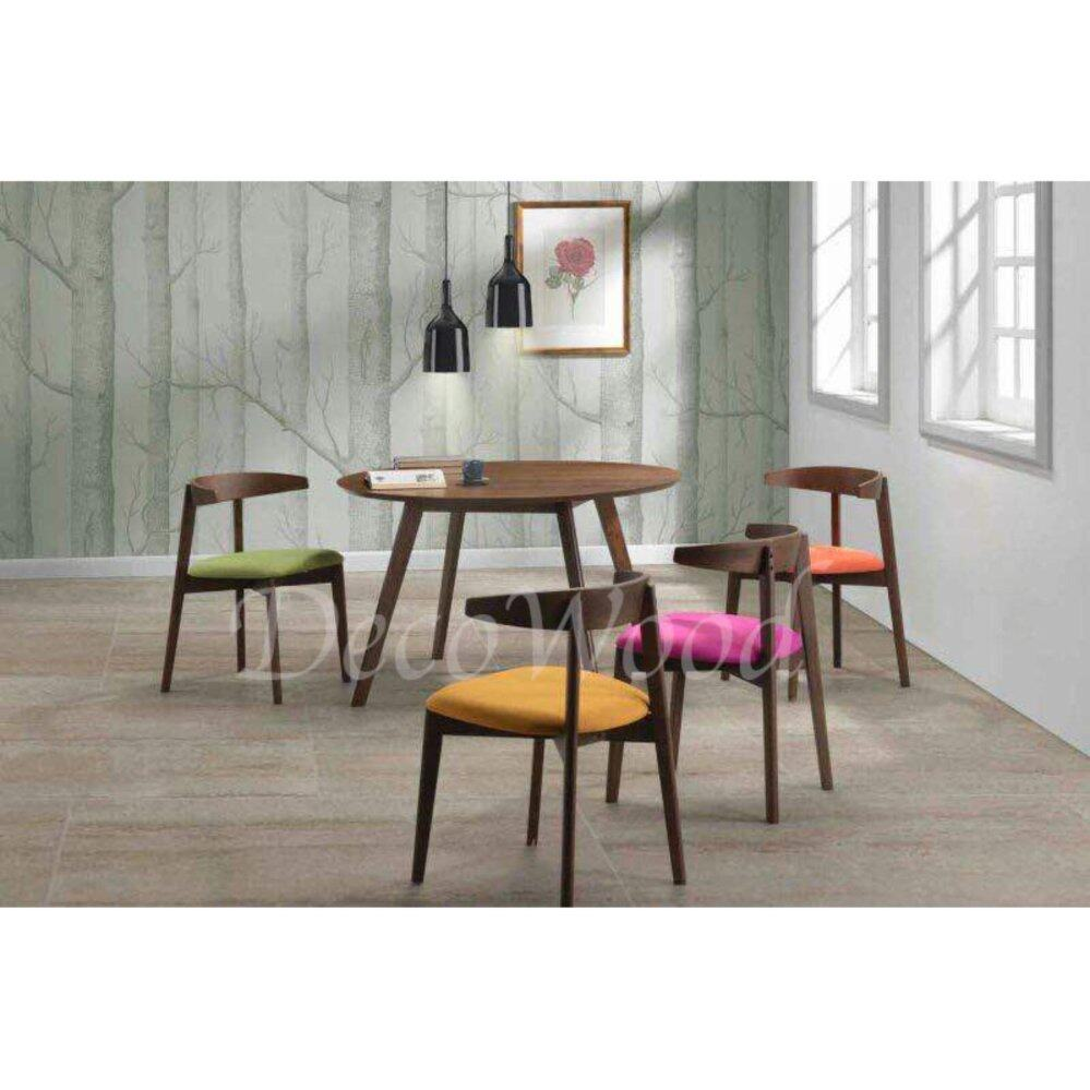 Solid Wood 1 Dining Table +4 Cushion Chair Dining Set (Colorful Color) L1200MM X W1200MM X H750MM Pre Order 2 Week