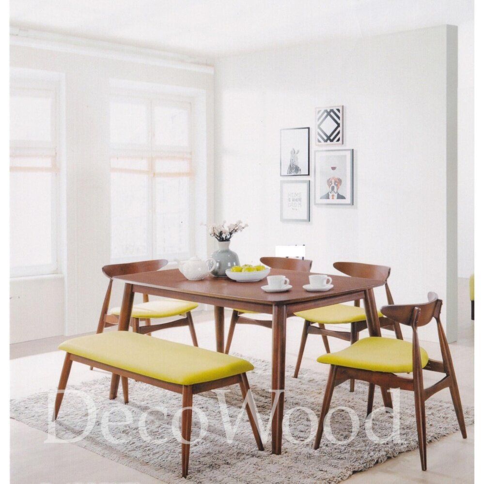 Solid Wood 1 Dining Table + 4 Dining Cushion Chair Stool Dining Set (Green Colour) Pre Order 1 Week