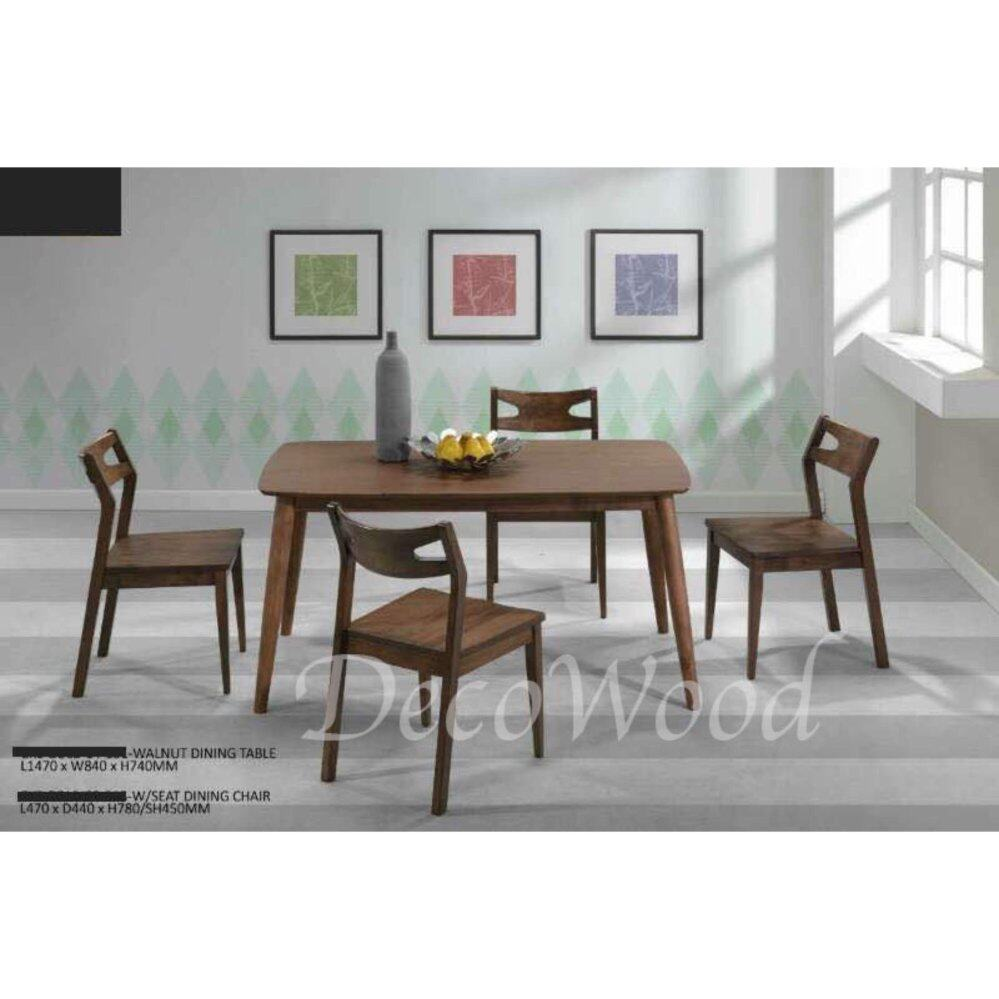 Solid Wood 1 Dining Table + 4 Wooden Chair Dining Set (Brown Color) L1470MM X W840MM X H740MM Pre Order 2 Week
