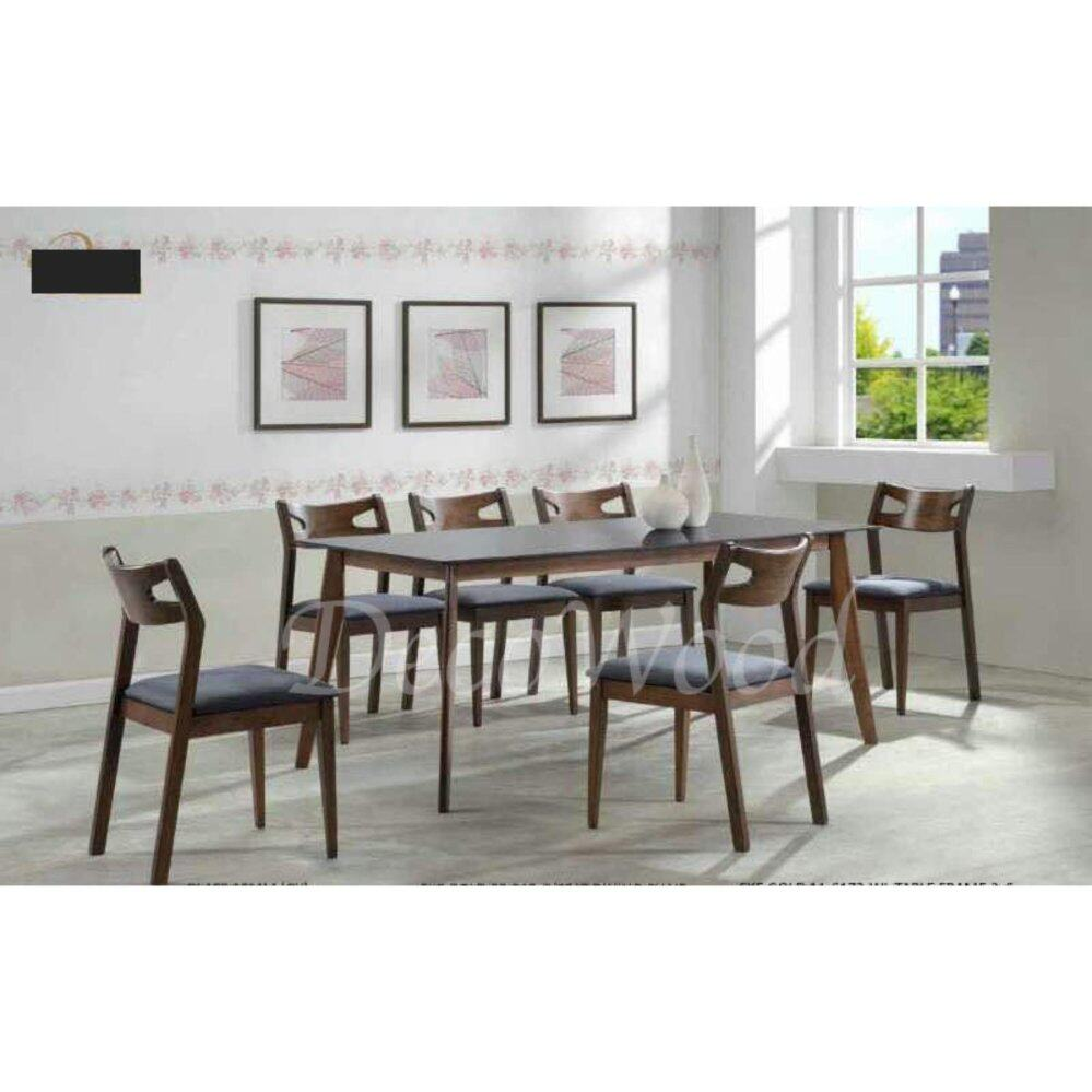 Solid Wood 1 Dining Table + 6 Fabric Cushion Chair Dining Set Breakfast Lunch Dinner Set(Grey Color) L1500MM X W900MM X H750MM Pre Order 2 Week