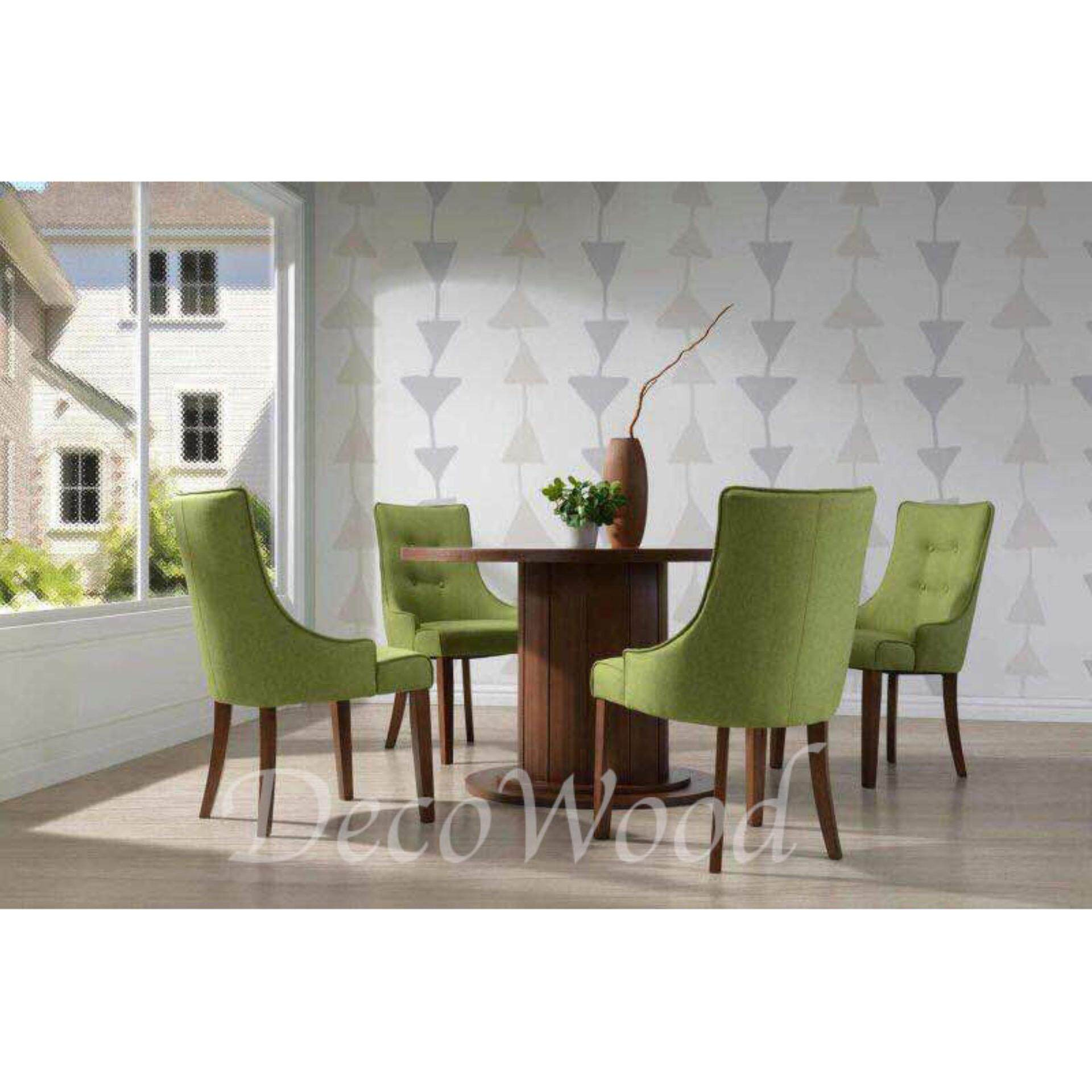 Solid Wood 1 Round Dining Table + 4 Cushion Chair Dining Set Breakfast Lunch Dinner Set(Green Color) L1200MM X W1200MM X H750MM Pre Order 2 Week