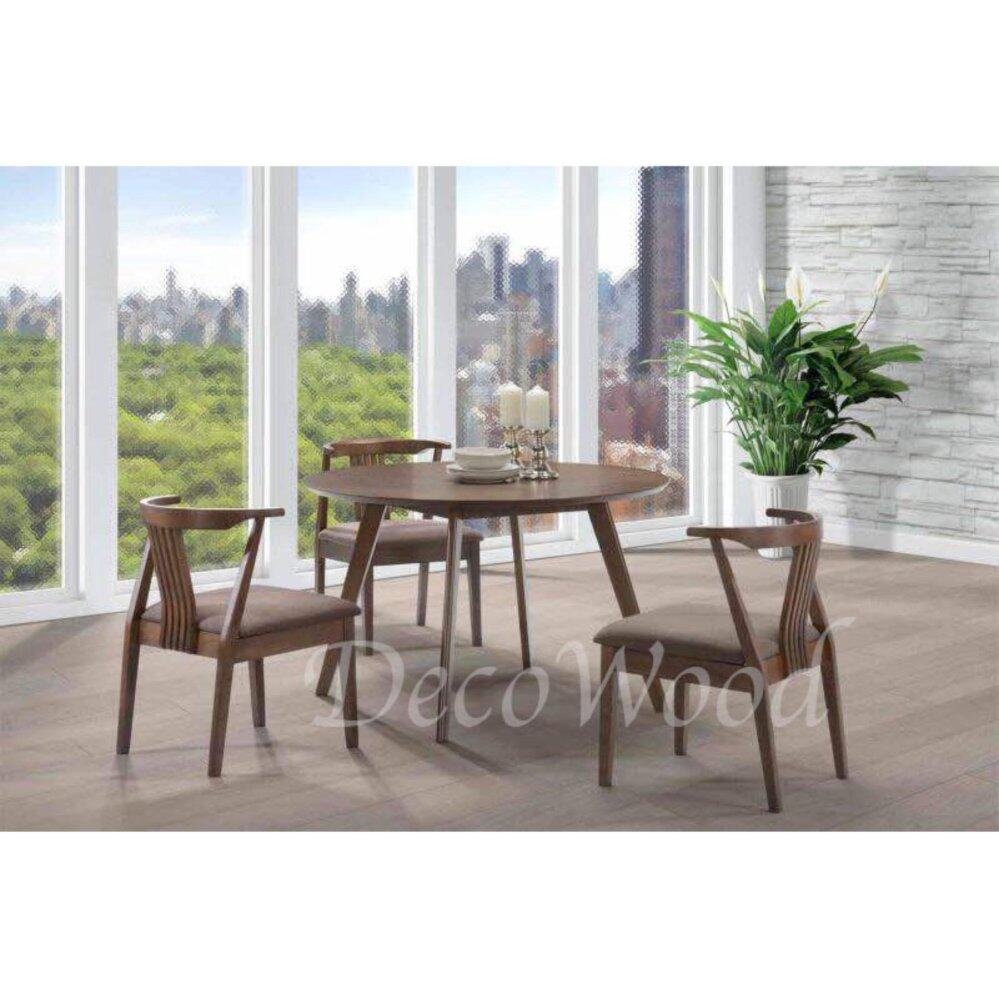 Solid Wood 1+4 Dining Table Cushion Chair Dining Set (Brown Color) L1200MM X W1200MM X H750MM Pre Order 2 Week